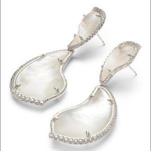 Kendra Scott Rhodium Mother-of-Pearl CZ Earrings